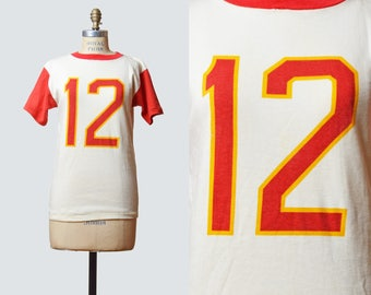 Vintage 70s Number 12 Football Ringer Tee Shirt / 1970s Striped Top Retro Graphic Shirt Retro Tshirt T Shirt Red White Yellow Medium