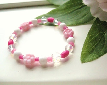 Girls Bracelet, Pink and White with Pink flowers, Medium, GBM 123