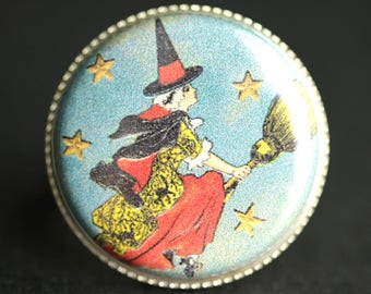 Flying Witch Ring. Halloween Ring. Broomstick Ring. Vintage Postcard Button Ring. Silver Ring. Adjustable Ring. Halloween Jewelry.