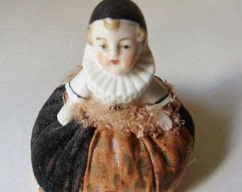 German Half Doll Pincushion in Velvet Gown, Possibly Queen Elizabeth 1