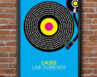Oasis - Live Forever Song Lyrics Wall Art Poster Print.