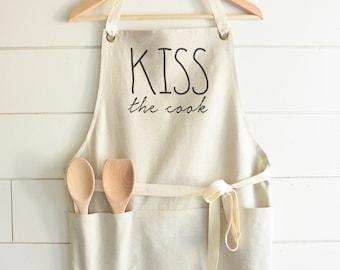 Kiss The Cook Apron // Kitchen // Baking // Cooking // Gift // Housewarming // Present // Birthday // Anniversary // Wedding