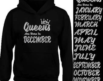 New SILVER Queens Born In 12 MONTHS HOODIE Sweatshirt Birthday Party Hoodie Sweater Your Birthday Hoodie Tank Top