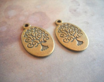 Tree Charms Tree of Life Charms Bulk Charms Wholesale Charms Antiqued Bronze Oval Tree 50 pieces