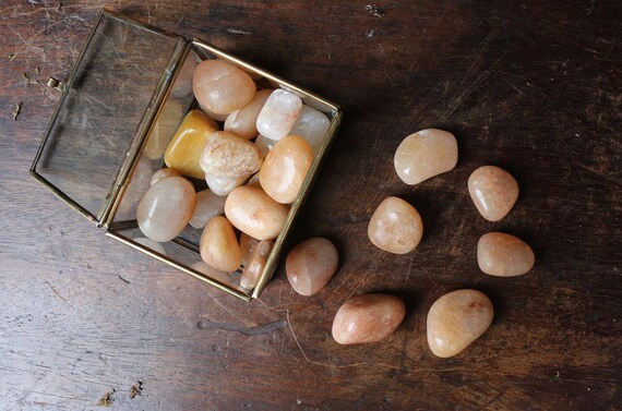 Peach Aventurine Tumbled Stones, Solar Plexus Chakra Crystal, Polished Aventurine, Crystal Grid, Orange Chakra Stone, Healing Crystal