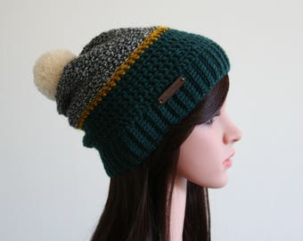 Green and Tweed Slouchy Beanie with Golden stripe
