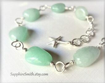30% off SEA FOAM Green Aventurine Gemstone Nugget Sterling Silver Link Bracelet, beach style