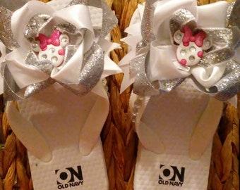 Girls Minnie Mouse Flip Flops Size 8/9
