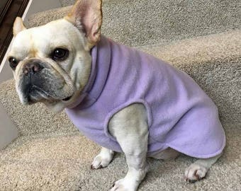French Bulldog Frenchie Lavender Fleece Jacket with Stand Up Collar