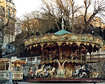 Paris Photography, Paris Merry-Go-Round Carousel Wall Art Decor, Paris Montmartre Carousel Print, Paris Sacre Coeur Carousel Wall Art Prints