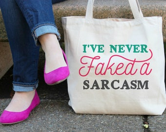 I've Never Faked a Sarcasm XL Canvas Tote Bag