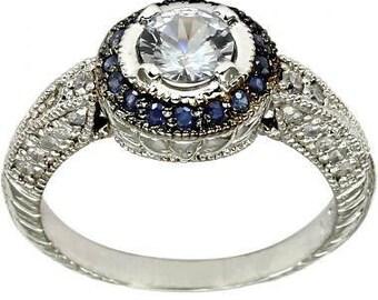 Diamond Halo Engagement Ring Sapphire Diamond Ring 14K White Gold Vintage Art Deco Diamond Ring
