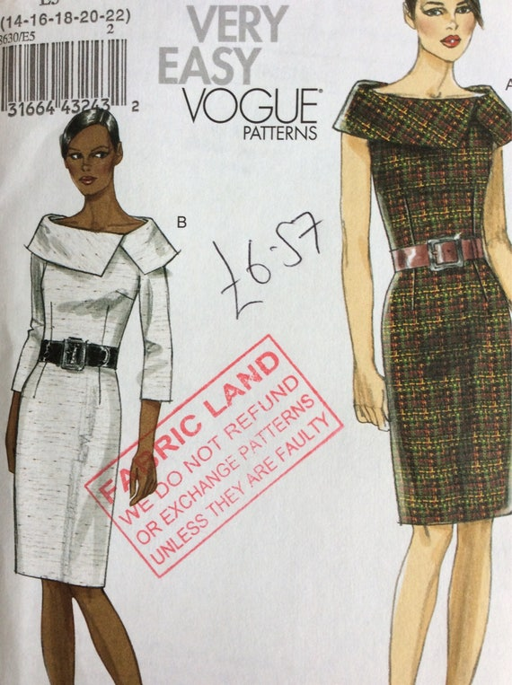 Very Easy Vogue Pattern - Sewing Pattern - Vogue V8630 (E5) - Sizes ...