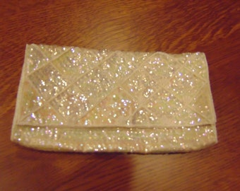Vintage opalescent Sequin and Pearl Beaded Clutch (free shipping)