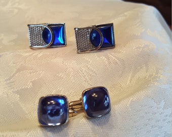 2 sets of beautiful blue rhinestones. One set is Pat Pend USA has been repaired.