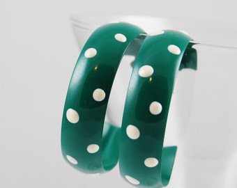 Vintage Green and White Polka Dot Hoop Earrings