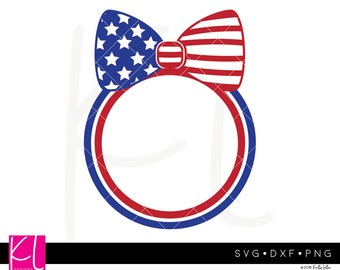 American Flag Bow svg, 4th of July Monogram svg, Patriotic svg, 4th of July svg, American Flag svg, Bow svg, Circle Monogram svg