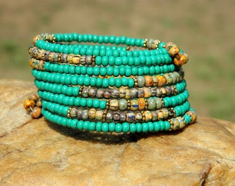 Turquoise Czech Bead Boho Bangle