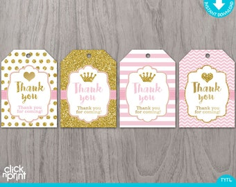 Pink and Gold Print Yourself Thank You Tags, Printable Favor Tags, Glitter Party Decoration, Baby Princess Thank You Tags