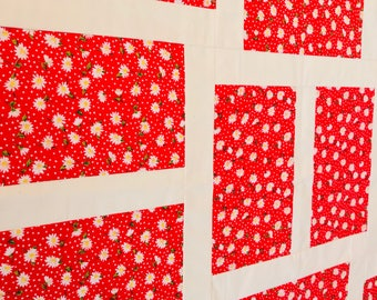 Baby Quilt top, Flower Quilt top, Unfinished Quilt top, Red Baby Quilt, Red Flowers