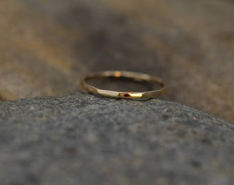 Rose or Yellow Gold Band, Hammered Texture, Simple band - 1.2 mm width - Thicker Band - Yellow Gold Band