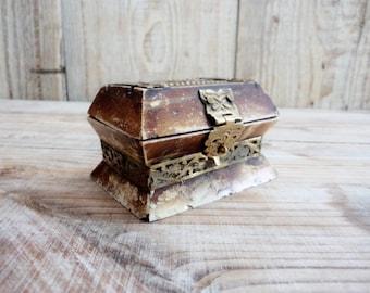 Charming Old Bone Trinket Box, Handmade Bone and Brass Trinket Box, Small Ring Box, Old Jewelry Box