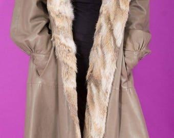 Lamb Nappa Leather Elegant Coat with FOX Fur Trim Hood Hoody Taupe Sz XL
