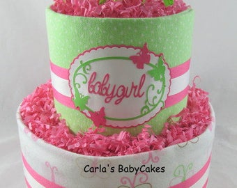 Girl diaper cake | Pink diaper cake | Baby diaper cake | Baby shower gift | Unique baby gift | New mom gift | Baby girl gift idea
