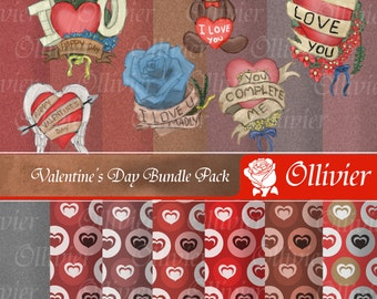 Valentines Day Pack, Clip Art + Digital paper-18 valentines day clip art figures & 14 digital papers-Scrapbooking, cards, invites and more