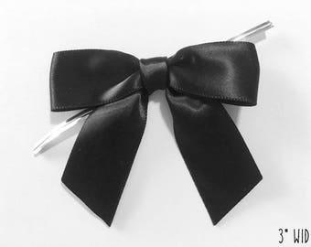 12 BLACK Handmade Bow Embellishments