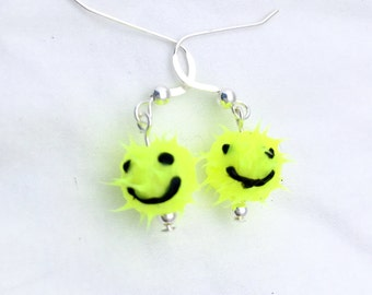 Bright yellow smiley face earrings, spiky rubber earrings, spiky ball earrings, silicone ball earrings, sterling silver, fluorescent yellow