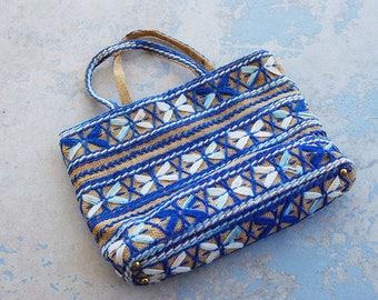 vintage 60s Embroidered Tote Bag 1960s Boho Burlap Purse Handbag Beach Bag