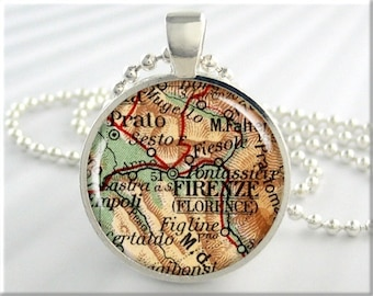 Florence Map Pendant, Resin Charm, Florence Italy, Map Necklace, Picture Jewelry, Map Charm, Gift Under 20, Round Silver 563RS