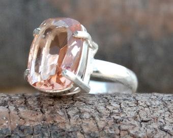 morganite quartz Ring, Cushion cut morgaite quartz sterling silver ring, peach color morganite Solid silver ring Jewelry