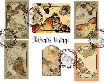 Fly Free Butterfly Vintage Journal Card Set Printable