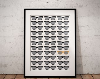 Be Different Poster, Sunglasses, Motivational, Inspirational, Print