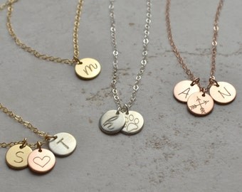 Tiny disk necklace, mom necklace, kids initial, personalized Necklace, small initial necklace, gift for mom, gift for her