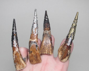 Taxidermy Bone Natural Witch Finger Bison Tooth Metal Filigree Ring Oddities Cruelty Free Witchy Goth Real