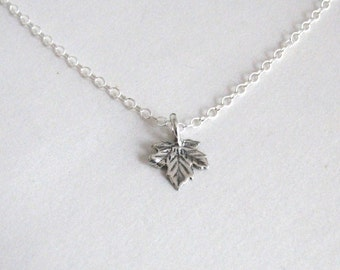 Maple Leaf Necklace, Sterling Silver Leaf Necklace, Woodland Necklace, Sterling Silver Leaf - Sterling Silver Chain