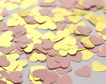 Pink and Gold Heart Confetti