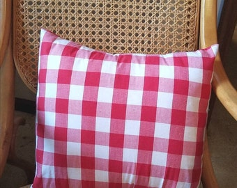 Red and White Pillow Cover, Farmhouse Pillow Cover, Red Plaid Pillow Cover, Plaid Pillow Cover, Farmhouse Decor, Buffalo Plaid Pillow Cover