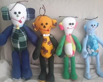 Pot Bellied String Bean Dolls, soft cuddly stuffed toy, doll, plush, child safe, handmade, USA, boy or girls.