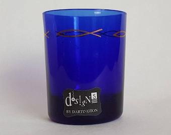 Dartington Designs cobalt blue tumbler glass labelled