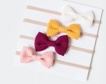 Single Headbands- Dainty Headband | cream, burgundy, coral or mustard
