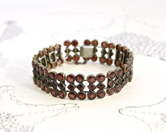 Victorian Garnet Bracelet, Antique Rose Cut Bohemian Pyrope Gate Style, Tombac, February Birthstone, Bride Bridal Holiday Jewelry