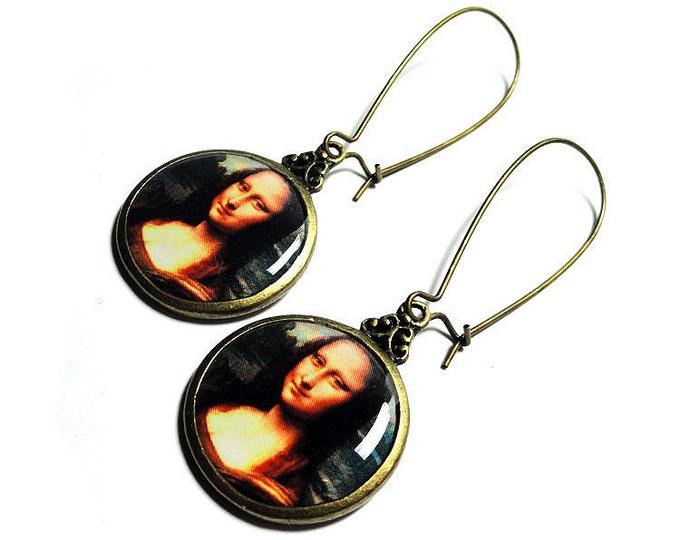 Leonardo Da Vinci Mona Lisa Earrings Fine Art Dangle Earrings, Resin Jewelry, Gift for Her, Handmade Earrings