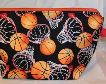 Basketball cotton zip top lined bag