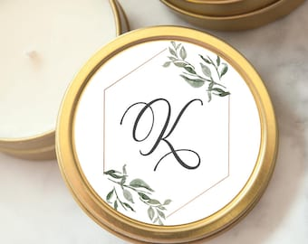 Wedding Favors, Gold Tin Custom Personalized Candles, Candle Wedding Favors, Mini Soy Candles, Shower, Party Favors, Botanical
