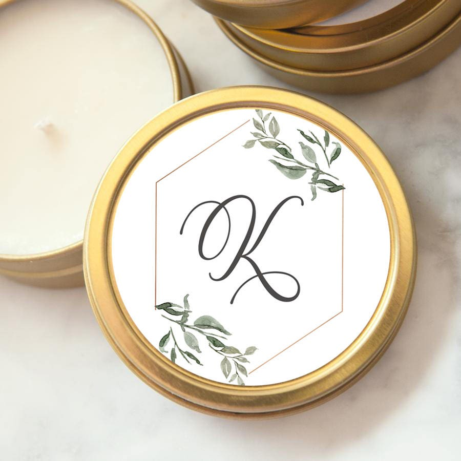 Wedding Favors Gold Tin Custom Personalized Candles Candle