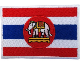 Thailand Flag Patch Iron Sew On Embroidered Badge Thai Royal Navy White Elephant